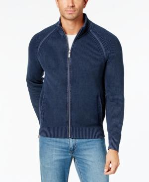 Tommy Bahama Men's Coastal Shores Ribbed-Knit Full-Zip Sweater In Blue Note