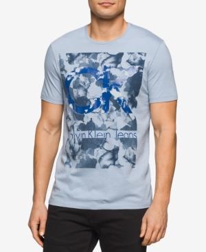 Calvin Klein Jeans Men's Camo Graphic-Print Logo Cotton T-Shirt In Dusty Blue