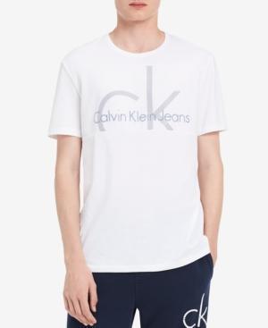 Calvin Klein Jeans Men's Chest Panel Logo T-Shirt In Standard White