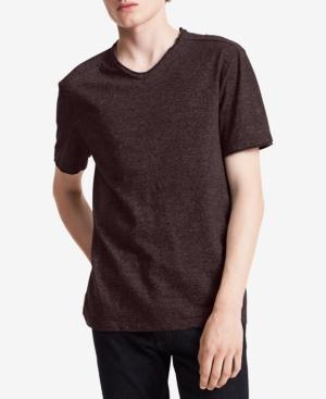 Calvin Klein Jeans Men's Solid V-Neck T-Shirt In Bordeaux