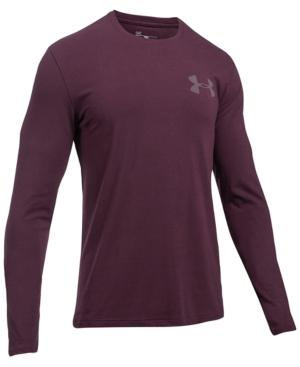Under Armour Men's Charged Cotton Long-Sleeve T-Shirt In Burgundy