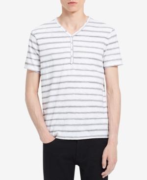 Calvin Klein Jeans Men's Striped V-Neck Henley In Standard White