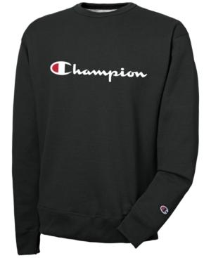 Champion Men's Powerblend Script Logo Sweatshirt In Black