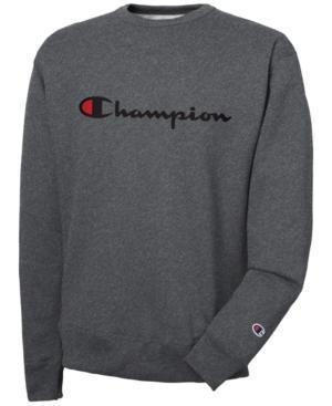 Champion Men's Powerblend Script Logo Sweatshirt In Granite Heather