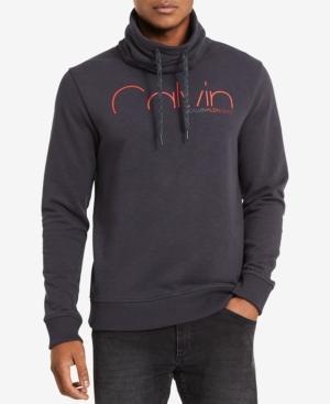 Calvin Klein Jeans Men's Funnel-Neck Logo Sweatshirt In Dark Shadow