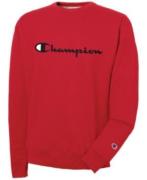 Champion Men's Powerblend Script Logo Sweatshirt In Team Red