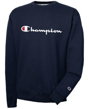 Champion Men's Powerblend Script Logo Sweatshirt In Navy