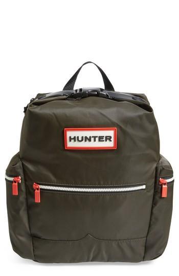 Hunter Original Top Clip Nylon Backpack - Green In Dark Olive