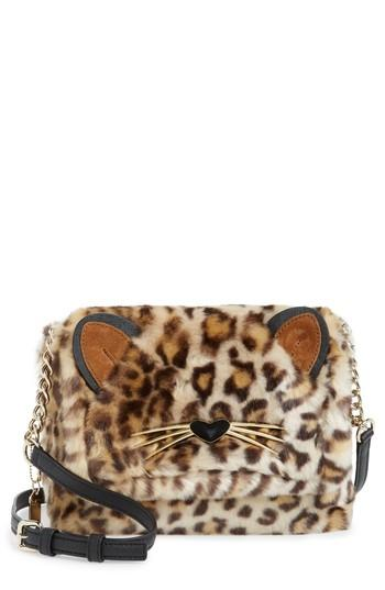 Kate Spade Run Wild Faux Fur Shoulder Bag/Muff - Brown In Leopard