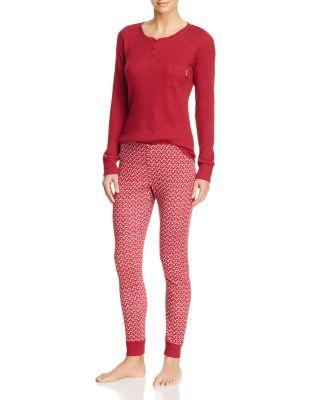Calvin Klein Domino Chips Long Sleeve Pj Set In Red