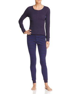 Calvin Klein Minimal Stripe Long Sleeve Pj Set In Fusion Blue
