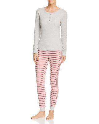 Calvin Klein Minimal Stripe Long Sleeve Pj Set In Heather Gray