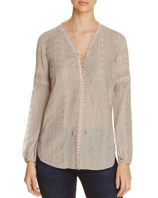 Elie Tahari Tanya Embroidered Silk Blouse In Cork
