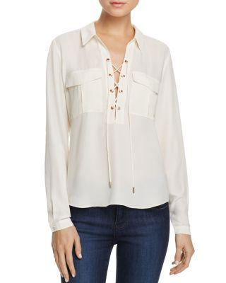 L'Academie The Safari Lace-Up Blouse In Ivory
