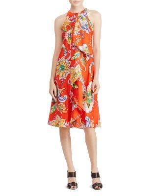 Ralph Lauren Lauren  Ruffle Front Floral Paisley Dress In Orange Multi