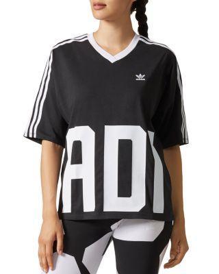 Adidas Originals Bold Age Graphic V-Neck Tee In Black