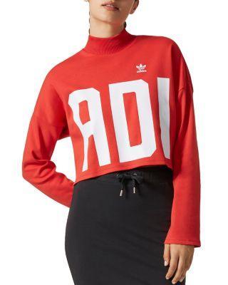 Adidas Originals Women's Originals Bold Age Cropped Sweatshirt, Red In Multi