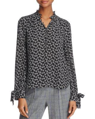 Rebecca Taylor Rue Floral Print Silk Blouse In Black Combo