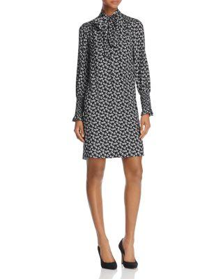 Rebecca Taylor Tie-Neck Long-Sleeve Printed Silk Dress In Black Combo