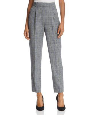 Rebecca Taylor Mod Checked Ankle Pants In Black Combo