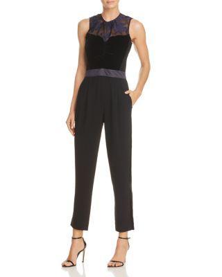 Rebecca Taylor Velvet & Organza Floral Jumpsuit In Dark Violet