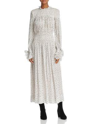 Rebecca Taylor Star Print Prairie Dress In Snow Combo