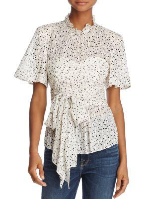Rebecca Taylor Short-Sleeve Tie-Waist Star-Print Blouse In Snow Combo