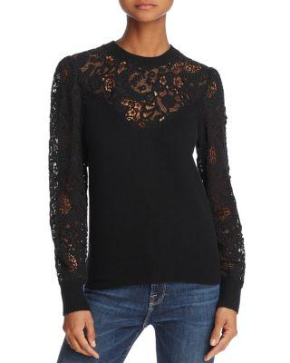 Rebecca Taylor Lace Mixed-Media Sweater In Black