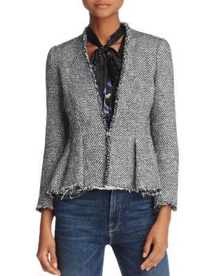Rebecca Taylor Metallic Tweed Peplum Jacket In Midnight Combo