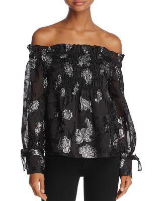 Rebecca Taylor Off-The-Shoulder Floral Jacquard Top In Black/Silver