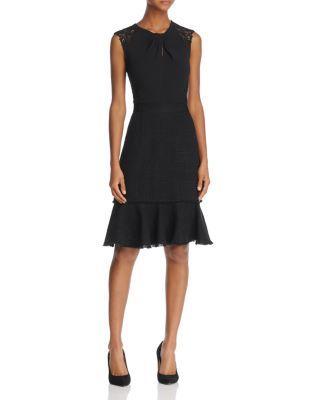 Rebecca Taylor Sleeveless Tweed Lace-Back Sheath Dress In Black