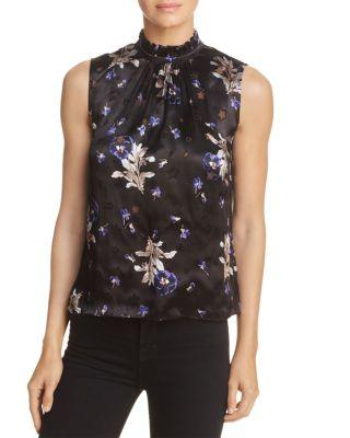 Rebecca Taylor Sleeveless Star-Burnout Blouse With Floral-Print In Black Combo