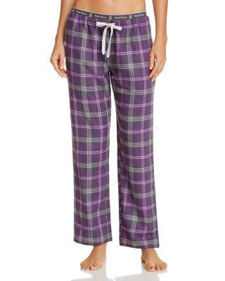 Psycho Bunny Flannel Luxe Lounge Pants In Eggplant Plaid