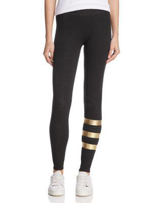Sundry Metallic-Striped Leggings In Old Black