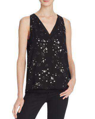 Cooper & Ella Harper Star Print Layered V-Neck Top In Black Stardust