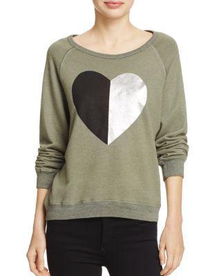 Sundry Split-Heart Sweatshirt In Heather Army