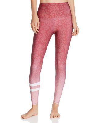 Onzie Printed High-Rise Legging In Burgundy Ombre