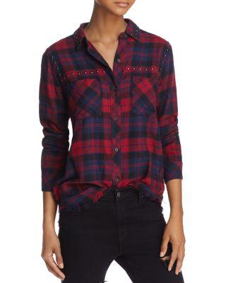 Rails Rex Studded Plaid Shirt In Scarlet/Navy/Coal