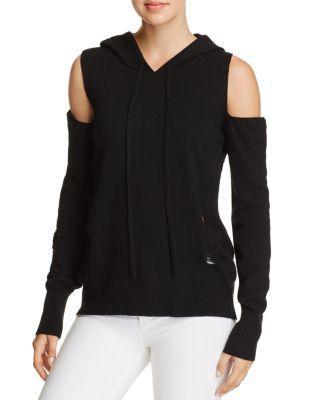 Pam & Gela Cold-Shoulder Hooded Sweater In Black