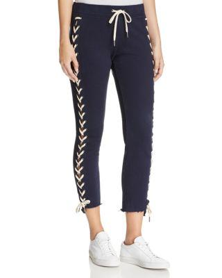 Pam & Gela Lace-Up Cropped Jogger Pants In Neat Navy