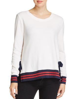 Pam & Gela Stripe-Trimmed Sweatshirt In Snow White