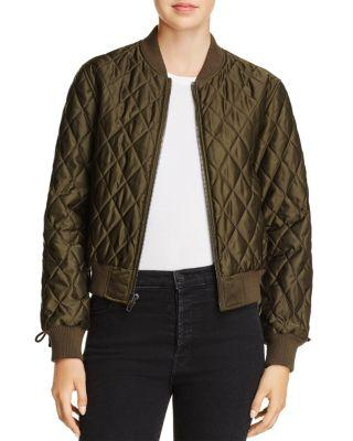 Pam & Gela Quilted Bomber Jacket In Army