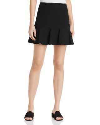 Rebecca Taylor Tweed Skirt In Black