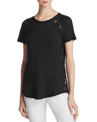 Rebecca Taylor Lace Panel Tee In Black