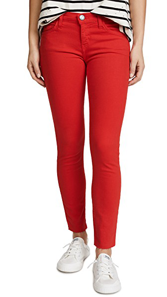 Current Elliott Current/Elliott The Stiletto Skinny Jeans In Racing Red In Racing Red With Cut Hem