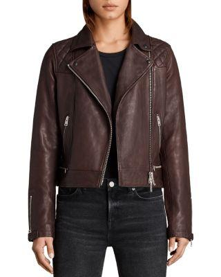 Allsaints Conroy Quilted Leather Biker Jacket In Oxblood Red