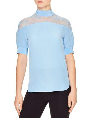 Sandro Silk Top With Lace Shoulders In Sky Blue