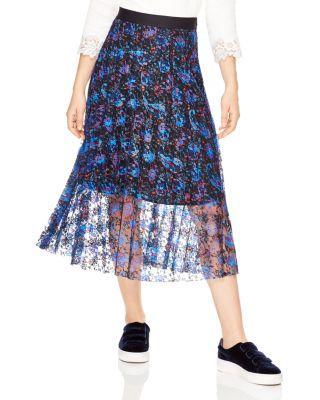 Sandro Roma Printed Lace Midi Skirt In Multi