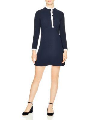 Sandro Contrast Ruffle Trim Dress In Navy Blue
