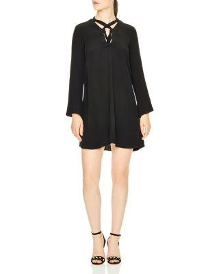 Sandro Lucina Lace-Up Dress In Black